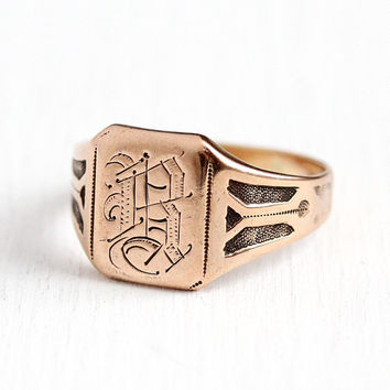 Antique B Signet Ring - Initial B Edwardian 10k Rosy Yellow Gold Men's Band - Vintage Early 1900s Size 10 Monogrammed Fine Jewelry