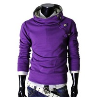 TheLees 4BH Mens Casual Luxury Buckle Hoodie Slim Cotton Sweatshirts