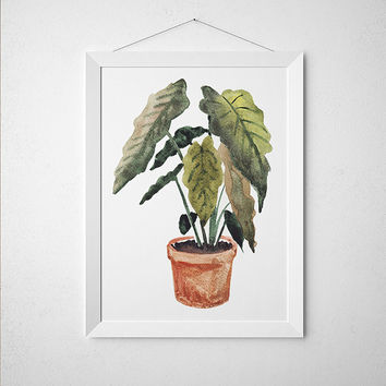 Potted plant decor Flower poster Botanical print Watercolor print ACW647