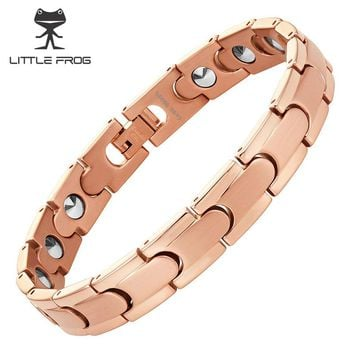 LITTLE FROG Rose Gold Plating Health 20 PCS 99.9999% Pure Germanium Bracelet for Women Stainless Steel Bracelets & Bangles
