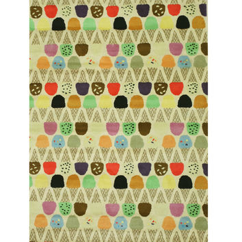 Ivory Transitional Kid's Ice Cream Cone Rug, 5' x 8