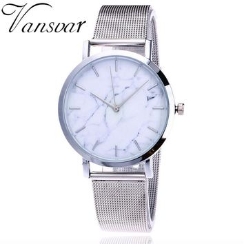 Vansvar Luxury Brand Women Watch Casual Quartz Stainless Steel Marble Strap Watch Women Ladies Dress Wrist Watch reloj mujer 30