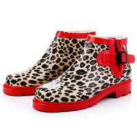 Free Shipping Women's fashion Red Leopard grain Mixed Colors Waterproof Rain Boot casual Ankle Boots for women