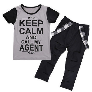 2016 Fashion Toddler Kids Baby Girls Short Sleeve Letter Print T-shirt Pants Leggings Outfits Clothes 2-7T