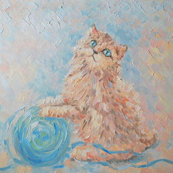 "Original Custom Cat Pet Painting ""Daizy and ball"" Impasto Cat Oil Still Life Wall Decor Personalized gift Contemporary Art Photo to Painting"