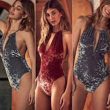 416c30fea93 Sexy Women velvet Halter One-Piece Suits Push Up Padded Bra Band