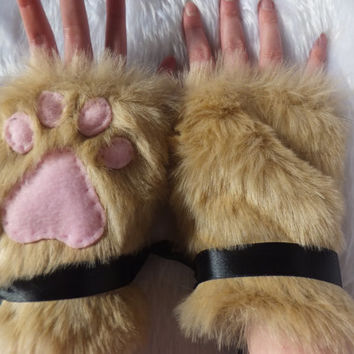 Cute Furry Luxury Light Brown Sand Cat Coyote Wolf Fox Paw Print Faux Fake Fur Fingerless Gloves Wrist Warmers Halloween