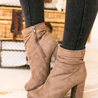 Don't Be A Slouch Taupe Bootie