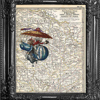 Dictionary Print-Print On Paris Map-Hot Air Balloon Fashion Art-Home Dorm Wall Decor- Antique Book Page-Print On Dictionary Book Page