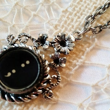 Semicolon and Colon Typewriter Key Necklace, Black Antique Typewriter Key, 24 Inch Silver Ox Link Chain, Semicolon Jewelry, Steampunk Style