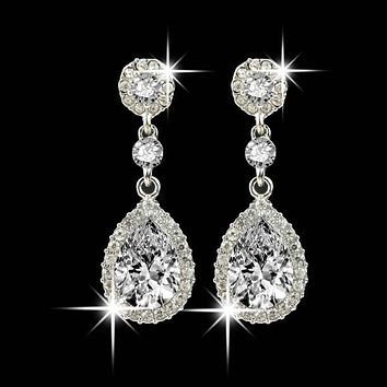 Wedding Jewelry Rhinestone Dangle Earrings FREE SHIPPING