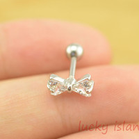 bow Tragus Earring,diamond bow piercing jewelry,wonderful ear Helix Cartilage jewelry,earring,friendship ear piercing,friendship gift