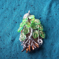 Agate Slice Tree with glass leaf beads / Wire Wrapped Sun Catcher or Pendant / Tiger's eye chip beads