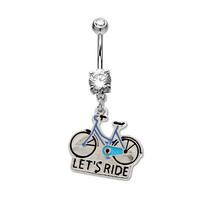 14ga Belly Ring Bicycle Dangle with Clear Prong Set CZ Gem 316L Surgical Steel