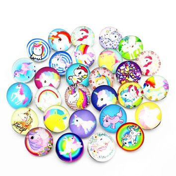 New Arrived Mixs 20pcs/lot 18mm Glass Snap Buttons Cartoon Unicorn Snap Chams Fit DIY Ginger Snap Bracelet Necklace Jewelry