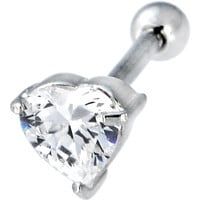 Sterling Silver 925 Clear Cubic Zirconia Heart Cartilage Earring