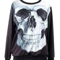 Pandolah Neon Galaxy Cosmic Colorful Patterns Print Sweatshirt Tees (Free size, Skull2)