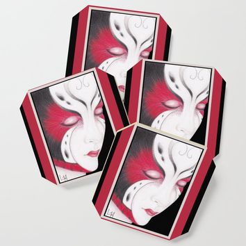 Butterfly Girl #4 Coaster by drawingsbylam