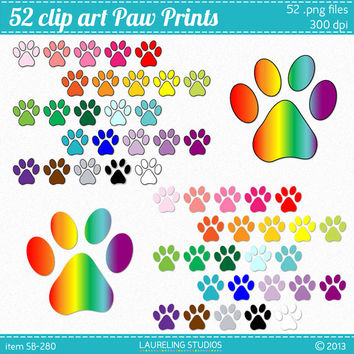 paw print clipart, 52 clip art paw print .png files, pet clipart, dog clip art scrapbook supplies, DIGITAL DOWNLOAD CA-280