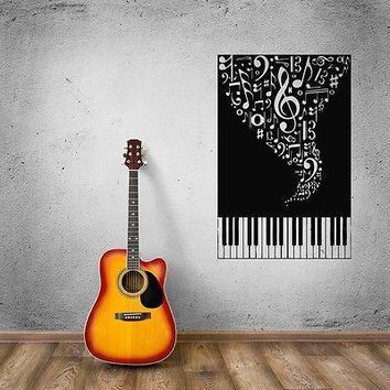 Wall Stickers Vinyl Decal Music Piano Sheet Musical Instruments Unique Gift (ig750)