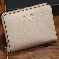 Prada Women Leather Zipper Wallet Purse