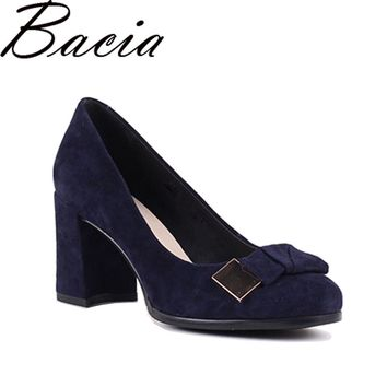 Bacia Sheep suede Pumps Blue 7.5cm Thick & High Heels Genuine Leather Ladies Shoes Round Toe Bowtie Shoes Pump Size 35-41 SB026