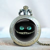 Cheshire cat necklace,Vintage Glass alice in wonderland Pocket Watch Necklace