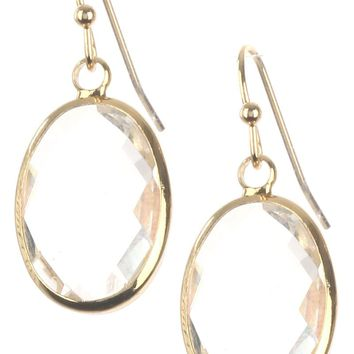 Clear Oval Cut Faceted Lucite Stone Earring