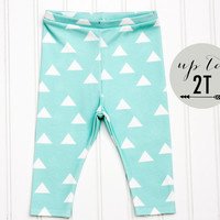 ORGANIC Cotton Knit Baby Toddler Turquoise Geometric Triangle Spring Leggings
