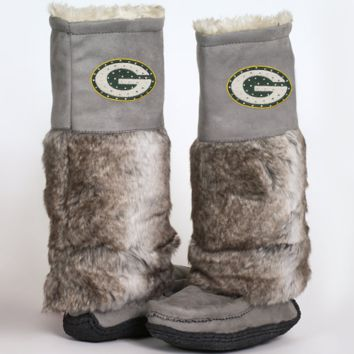Cuce Shoes Green Bay Packers Ladies The Follower Boots - Gray - http://www.shareasale.com/m-pr.cfm?merchantID=7124&userID=1042934&productID=525372487 / Green Bay Packers