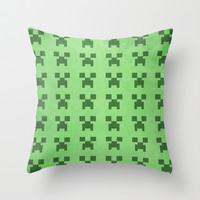 Creeper - Minecraft Throw Pillow by LightningJinx