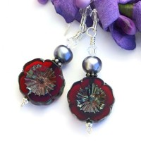 Red Pansy Czech Glass Handmade Earrings, Pearls, Artisan Flower Beaded Jewelry