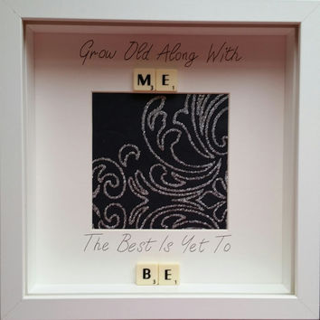 Grow old along with me the best is yet to be Home decor photo frame personalised scrabble family White box frame keepsake frame wedding gift