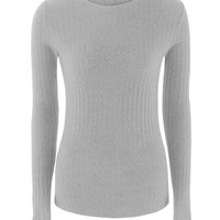 Gray Tie Up Back Tight Ribbed Knit Sweater