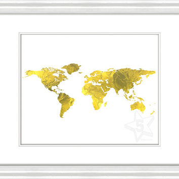 Best downloadable world map products on wanelo gold foil world map print world map instant download printable gold foil wall decor gumiabroncs Choice Image