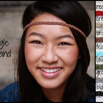 Single Strand Braided Suede Leather Headband, Brown Black Red Teal Olive Tan, Bohemian Boho Hippie Band, Tribal Indie