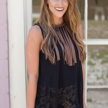Judith March Black Chiffon Top With Suede Fringe Detail