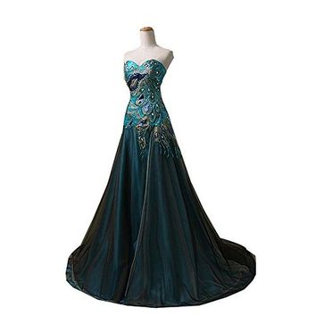 New Peacock Long Dress Popular Evening Dress for Women Party