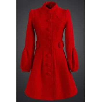Elegant Stand Collar Solid Color Bell Bottom Sleeve Wool Coat For Women