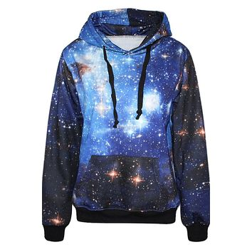 Galaxy Digital Stars Print Pocket Drawstring Hoodie