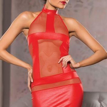 Red Mesh and Wet Look Halter Dress in L/XL