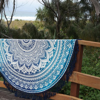Ombre bohemain mandala roundie beach throw by Ambaloo on Etsy