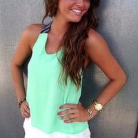 T-Back Aztec Tank in Pistachio | The Rage