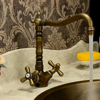 Brand European Classical Audience Full Copper Basin Faucet Hot Cold Water Basin Faucet Rotatable Antique Shipping