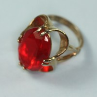 Faceted Red Glass Cocktail Ring Large Stone Raised Setting