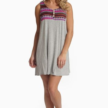Grey Neon Embroidered Button Accent Top Dress