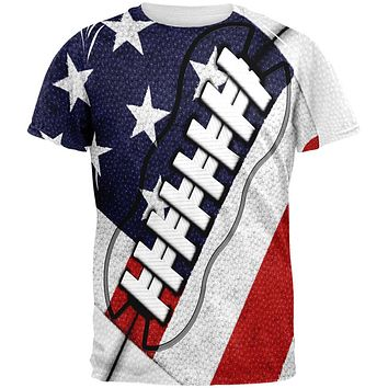 4th of July American Flag Patriot Football All Over Mens T Shirt