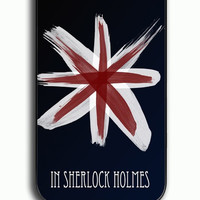 iPhone 4S Case - Rubber (TPU) Cover with Believe in Sherlock Holmes Logo Quotes Rubber Case Design
