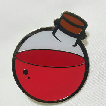 Health Potion Lapel Pin - Gamer Inspired Clothing Accessory