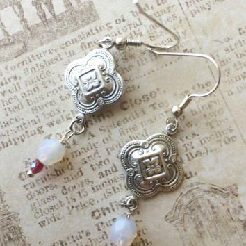 Elegant pierced earrings Moonstone colored Czech beads etched silver colored medallion stainless earwire